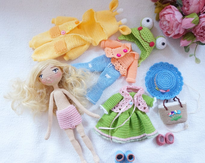 Featured listing image: Crocheted doll with clothing  / doll handmade / doll with outfit