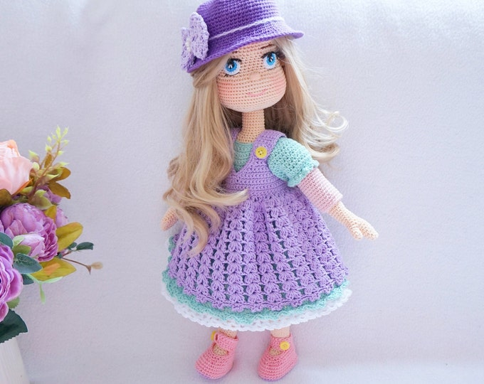 Featured listing image: Lovely doll with outfit crochet pattern