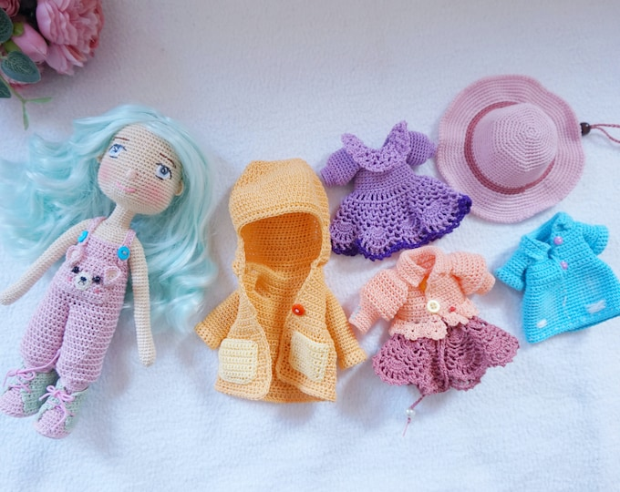 Featured listing image: crocheted doll with outfit / beautiful doll set handmade