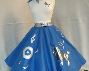 Adult M French blue poodle skirt outfit