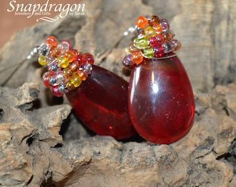 Red briolette messy wrap earrings