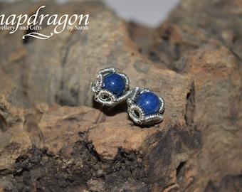 Lapis Lazuli wire wrapped studs.