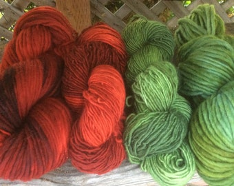 Hand Dyed Single Ply Worsted Wool Yarn 'Geraniums'