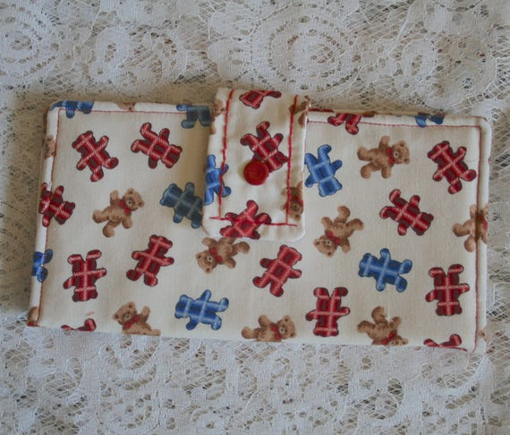 Multiple Card Slots Handmade Wallet Clutch Wallet with Bears