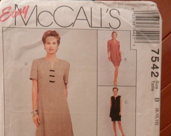 McCall/'s 7542 Misses/' Dress Unlined Jacket and Vest and Skirt  Sewing Pattern