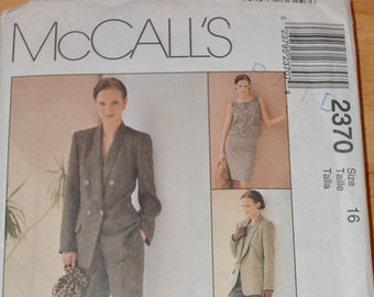 Uncut McCall's 2370, Non-Stop Wardrobe:  Jacket, Top, Skirt & Pants, size 16