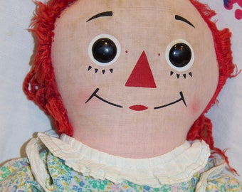 """Cute 19"""" vintage Knickerbock Raggedy Ann well-loved ready for tender loving care!"""