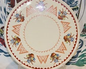 MIJ 11 quot platter circa l940 with flower pots and tulips motif and in very good vintage condition