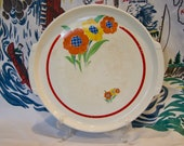Pottery Guild 12 quot tabbed platter or cake plate circa l940 with flower pots in very good vintage condition