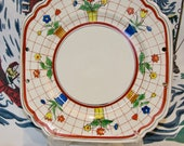 MIJ 10 quot scalloped square platter circa l940 with flower pots in very good vintage condition