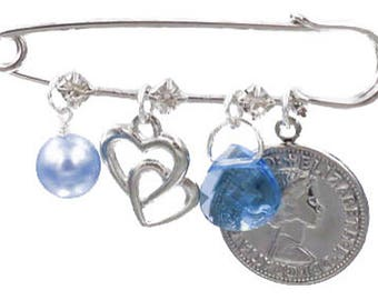 Light Blue Pearl, Double Heart, Blue Crystal, and Six Pence Bridal Pin