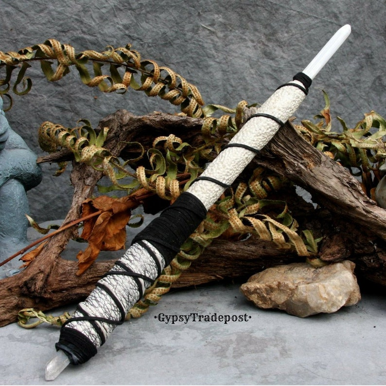 Clay Twilight Magic Wand XL /& Double-sided Wood Leather Ritual Celtic Pagan Witch Fairy Mage Wizard Renaissance Costume Halloween