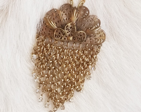 40% OFF!  Antique Filigree and Fringe Necklace