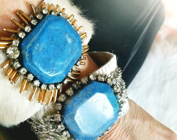 Handmade Chic Cowhide Cuff with Up-cycled Metals and Lapis