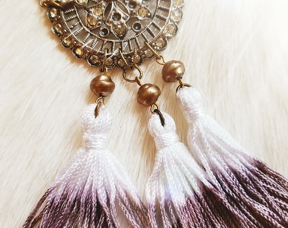 Vintage Gypsy Rhinestone and Tassel Necklace