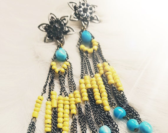 Repurposed Beaded and Rhinestone Duster Earrings