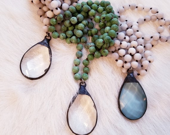 Beaded Layering CrystalPendant Necklaces