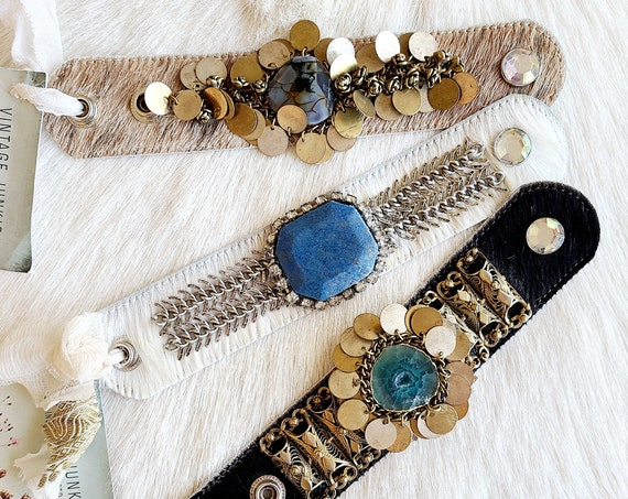 Handmade Chic Cowhide Cuffs with Up-cycled Metals and Agate and Quartz slabs