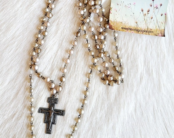 Long Layered Vintage Cross Necklace