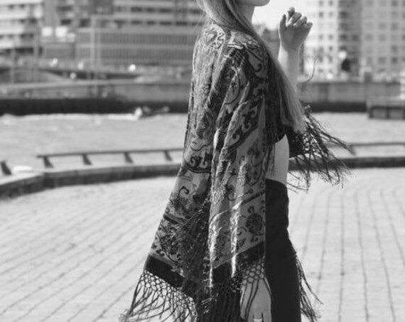 Vintage Dark Grey Velvet Burnout Kimono