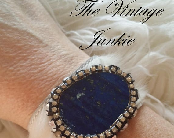 The Vintage Junkie...Boho Cowhide Cuff with Brilliant Blue Agate Slab and Repurposed Rhinestones