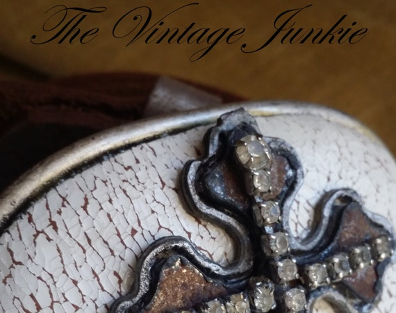 The Vintage Junkie...Handmade Buckle and Belt with Distressed Leather and Vintage Metals.