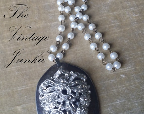 The Vintage Junkie...Long  Layering Silver Spoon and Vintage Glass Pearl Necklace with Vintage Rhinestones