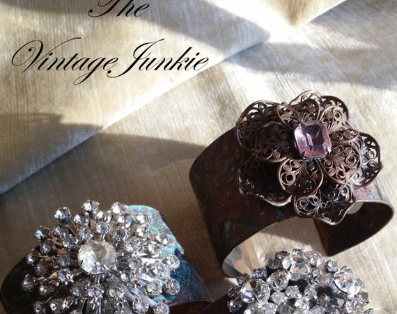 The Vintage Junkie...Etched Brass Cuffs with Repurposed Rhinestone Embellishments