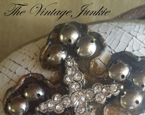 The Vintage Junkie...Handmade Buckle with Distressed Leather, Vintage Metals and Pewter Leather Strap
