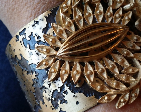 Repurposed Vintage Brooch and Etched Brass Cuff Bracelet