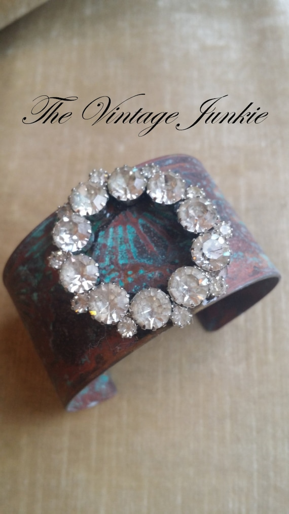 The Vintage Junkie...Handmade Cuff, Etched Brass Cuff, Upcycled Rhinestone cuff style Bracelet