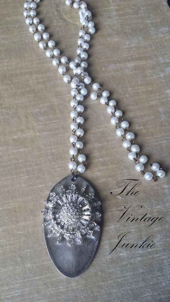 SOLD OUT! The Vintage Junkie...Long  Layering Silver Spoon and Vintage Glass Pearl Necklace with Vintage Rhinestones