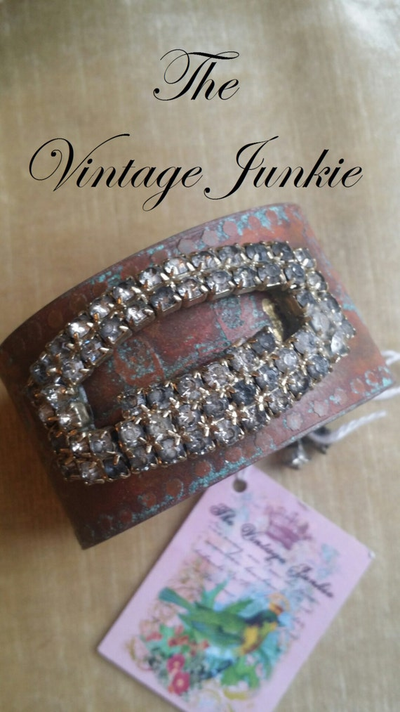 The Vintage Junkie... Handmade, Etched Brass Cuff with Repurposed Rhinestone Shoe Buckle