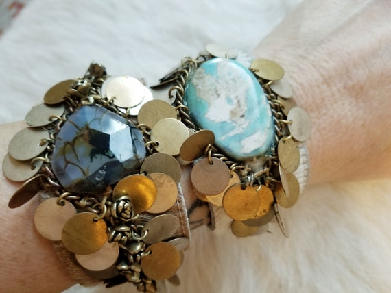 Handmade BoHo Cowhide Cuff with Agate Stones and Up-cycled Metals