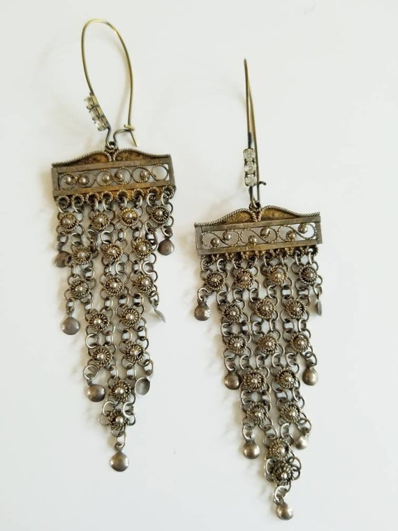 Repurposed Turkish Filigree and Rhinestone Duster Earrings