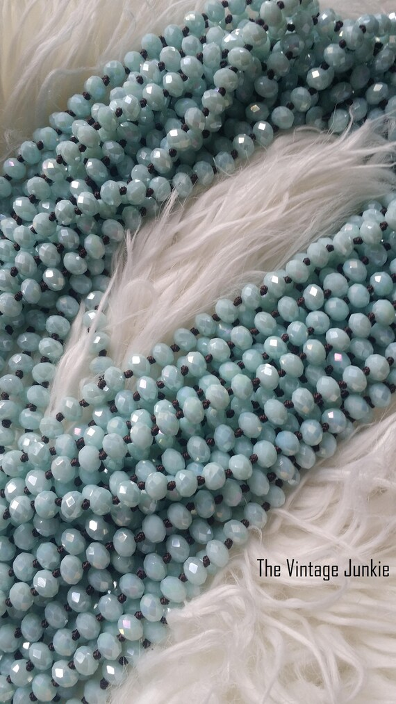 The Vintage Junkie..Hand Knotted, Faceted Robin's Egg Blue beaded Necklaces...Summer jewelry...BoHo layering necklace