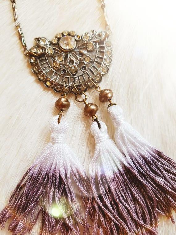 Vintage Gypsy Rhinestone and Tassel Necklace