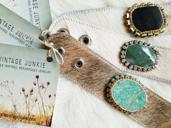 The Vintage Junkie...Boho Cowhide Cuff with Agate Slabs and Re-purposed Rhinestones