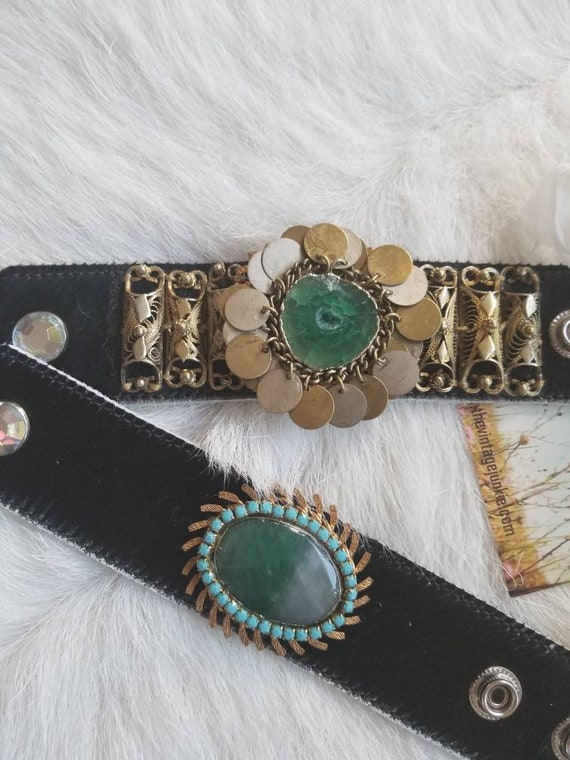 Handmade Chic Cowhide Cuff with Up-cycled Metals and Green Druzys