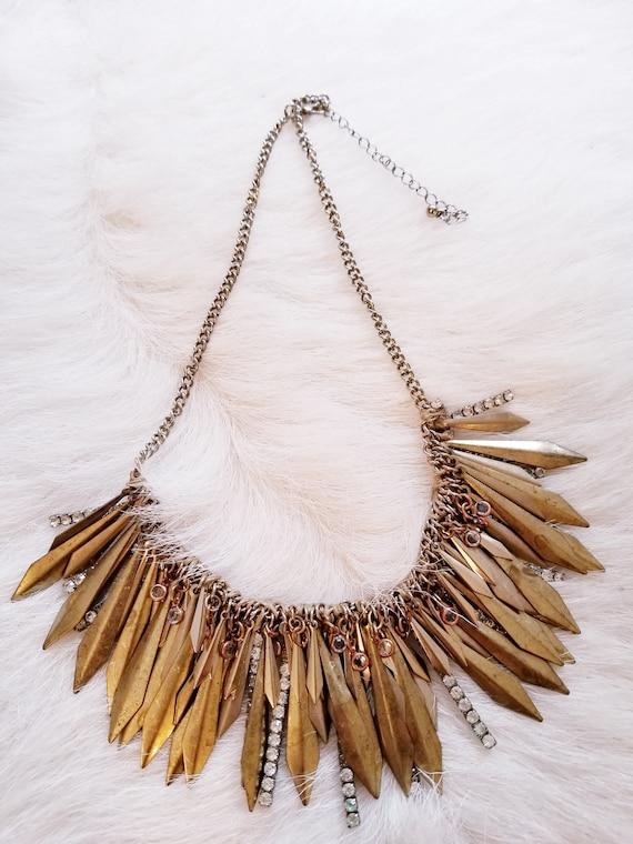SOLD!  Vintage Rhinestone and Brass Fringe Necklace