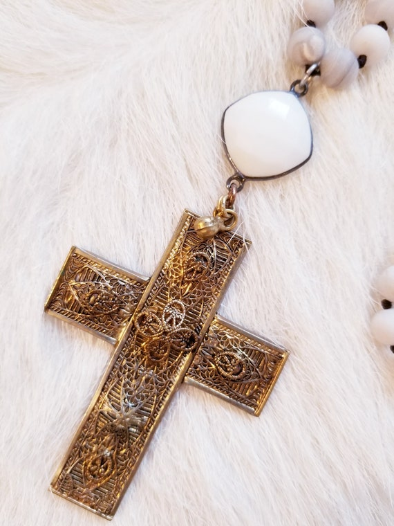 Beaded Layering Cross Pendant Necklace