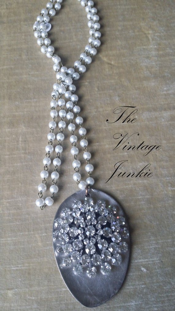 The Vintage Junkie...Long Layering Silver Spoon and Vintage Glass Pearl Necklace