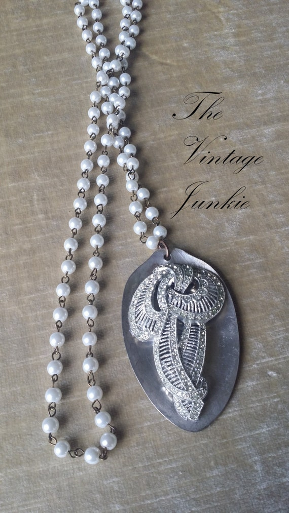 SOLD OUT! The Vintage Junkie...Long Layering Necklace with Glass Pearls, Vintage Silver Spoon and Upcycled Rhinestone Brooch