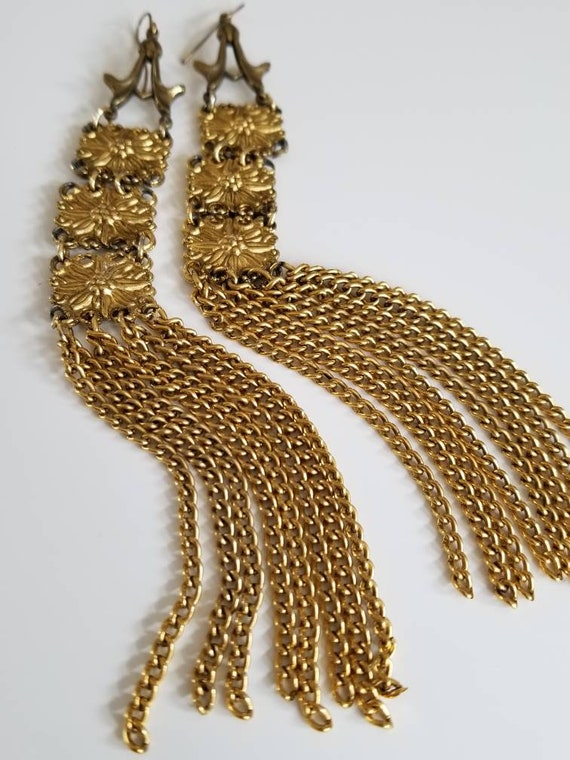 Repurposed Gold Toned Fringe Duster Earrings