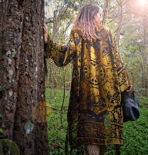 Vintage Velvet Burnout Kimono