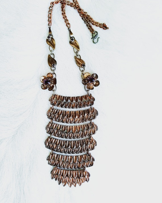 Antique Copper Fringed Necklace