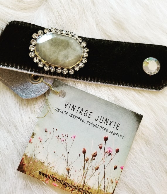 The Vintage Junkie...BoHo Cowhide Cuff with Moss Green Agate Slab and Re-purposed Rhinestones