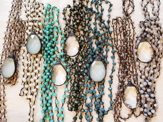 Beaded Woven Layering Crystal Pendant Necklace