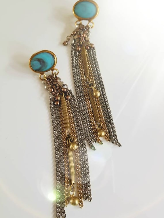 40% OFF!  Repurposed Vintage Metal Fringe Duster Earrings