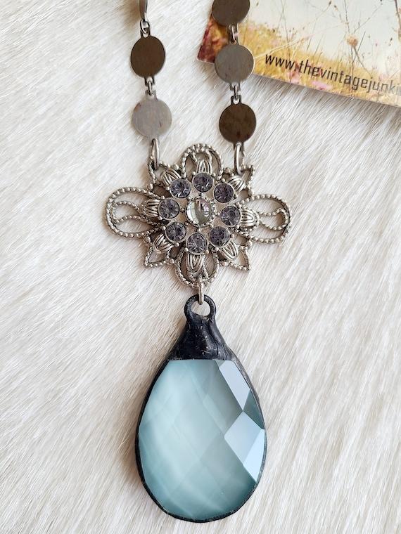 Antique Filigree and Robin's Egg Blue Crystal Teardrop Necklace